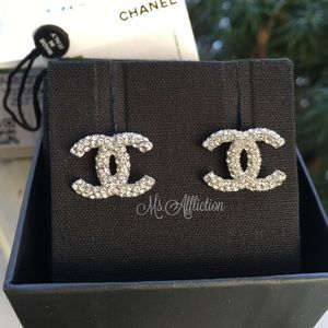 CHANEL Authentic Crystal CC Earrings Large